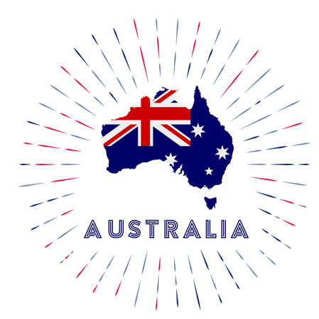 Australia sunburst badge. The country sign with map of Australia with Australian flag. Colorful rays Archivio Fotografico - 138467355