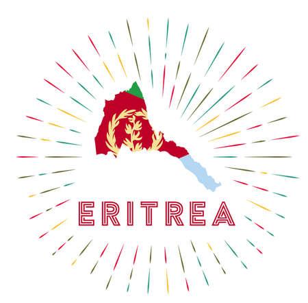 Eritrea sunburst badge. The country sign with map of Eritrea with Eritrean flag. Archivio Fotografico - 138473742