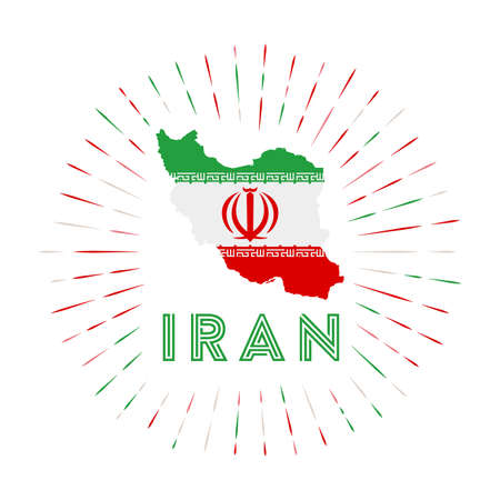 Iran sunburst badge. The country sign with map of Iran with Iranian flag. Colorful rays Archivio Fotografico - 138473747