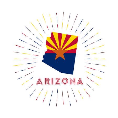 Arizona sunburst badge. The us state sign with map of Arizona with state flag. Archivio Fotografico - 138473753