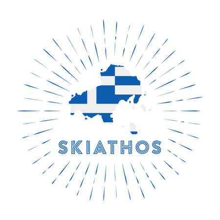 Skiathos sunburst badge. The island sign with map of Skiathos with Greek flag. 矢量图像