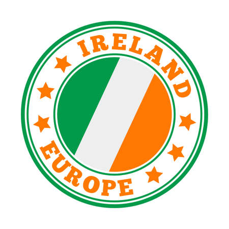 Ireland sign. Round country   with flag of Ireland. Vector illustration. Stock Illustratie