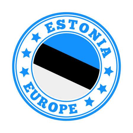 Estonia sign. Round country   with flag of Estonia. Vector illustration.