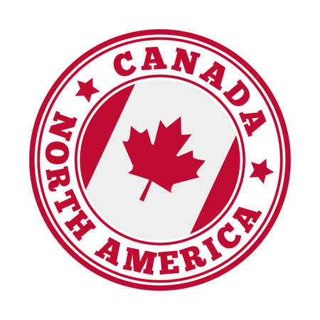 Canada sign. Round country with flag of Canada. Vector illustration.
