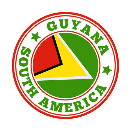 Guyana sign. Round country   with flag of Guyana. Vector illustration. Фото со стока - 138473810