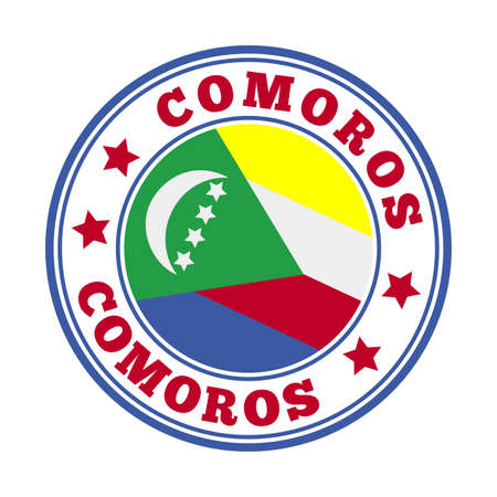 Comoros sign. Round country   with flag of Comoros. Vector illustration.