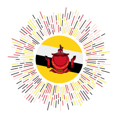 Brunei sign. Country flag with colorful rays. Radiant sunburst with Brunei flag. Vector illustration.