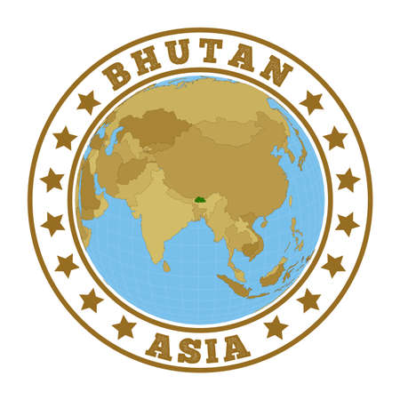 Round badge of country with map of Bhutan in world context. Country sticker stamp with globe map and round text. Vector illustration. Ilustracja