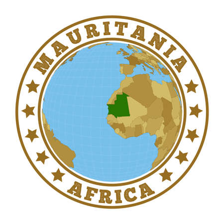 Round badge of country with map of Mauritania in world context. Country sticker stamp with globe map and round text. Vector illustration. Foto de archivo - 138475512
