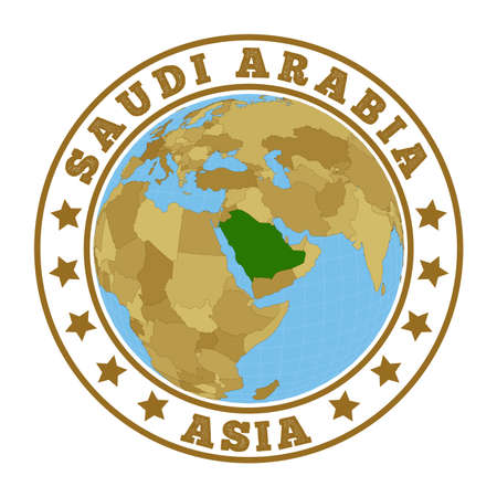 Round badge of country with map of Saudi Arabia in world context. Country sticker stamp with globe map and round text. Vector illustration. Foto de archivo - 138475510