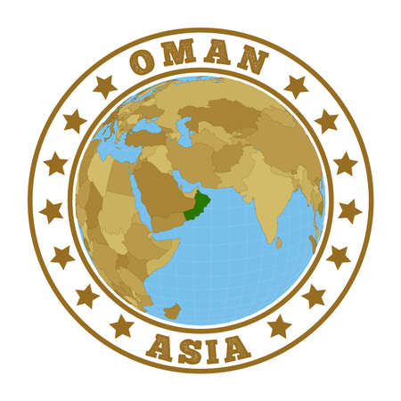 Round badge of country with map of Oman in world context. Country sticker stamp with globe map and round text. Vector illustration. Foto de archivo - 138475513