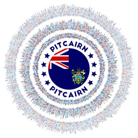 Pitcairn symbol. Radiant country flag with colorful rays. Shiny sunburst with Pitcairn flag. Classy vector illustration.
