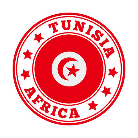 Tunisia sign. Round country   with flag of Tunisia. Vector illustration. Foto de archivo - 138475523
