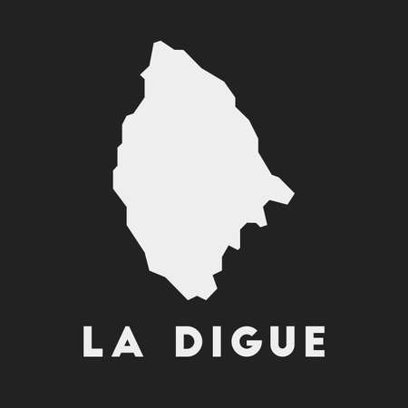 La Digue icon. Island map on dark background. Stylish La Digue map with island name. Vector illustration.
