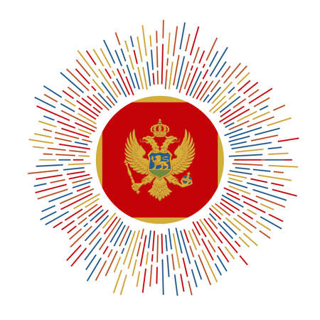 Montenegro sign. Country flag with colorful rays. Radiant sunburst with Montenegro flag. Vector illustration.