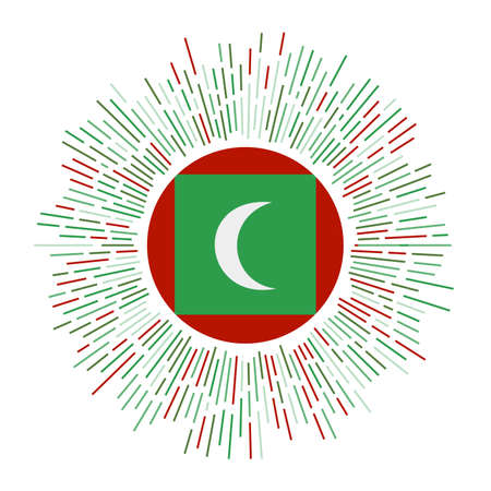 Maldives sign. Country flag with colorful rays. Radiant sunburst with Maldives flag. Vector illustration.