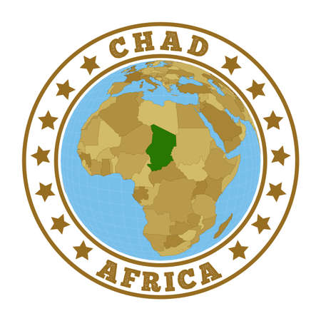 Round badge of country with map of Chad in world context. Country sticker stamp with globe map and round text. Vector illustration.