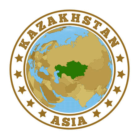 Round badge of country with map of Kazakhstan in world context. Country sticker stamp with globe map and round text. Vector illustration. Foto de archivo - 138475661