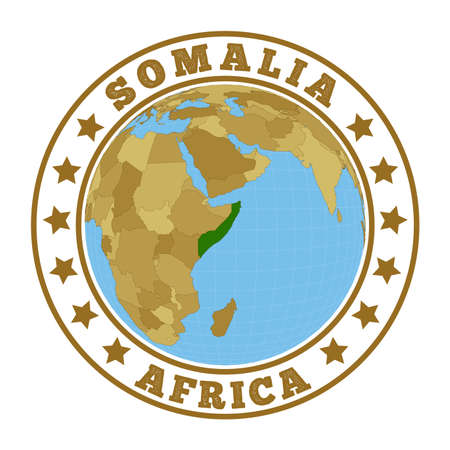 Round badge of country with map of Somalia in world context. Country sticker stamp with globe map and round text. Vector illustration. Foto de archivo - 138475663