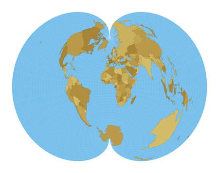 World Map. American polyconic projection. Map of the world with meridians on blue background. Vector illustration. Stock Illustratie