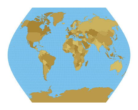 World Map. Ginzburg VIII projection. Map of the world with meridians on blue background. Vector illustration.