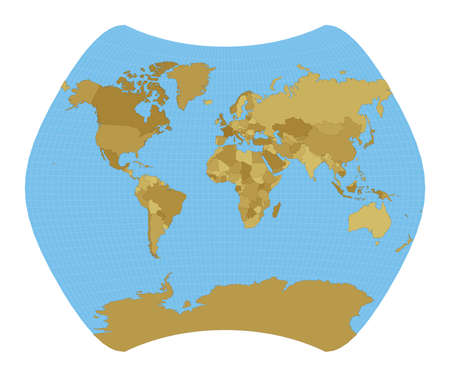 World Map. Larrivee projection. Map of the world with meridians on blue background. Vector illustration. Ilustracja