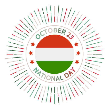 Hungary national day badge. Opening of its previously-restricted border with Austria in 1989. Celebrated on October 23. Illusztráció