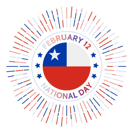 Chile national day badge. Independence from Spain in 1818. Celebrated on February 12. Archivio Fotografico - 138475672