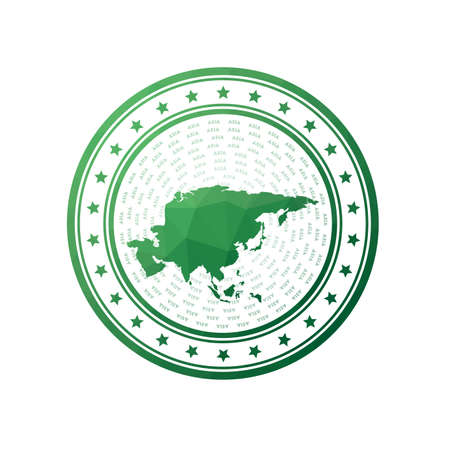 Flat low poly stamp of Asia. Polygonal Asia badge. Stock Illustratie