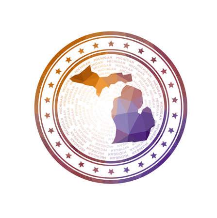 Flat low poly stamp of Michigan. Polygonal Michigan badge. Фото со стока - 138476337