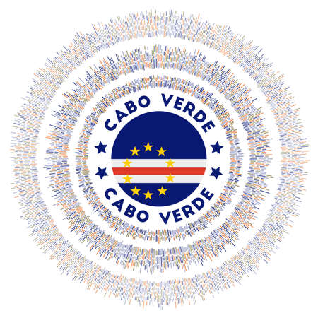 Cabo Verde symbol. Radiant country flag with colorful rays. Shiny sunburst with Cabo Verde flag. Attractive vector illustration.
