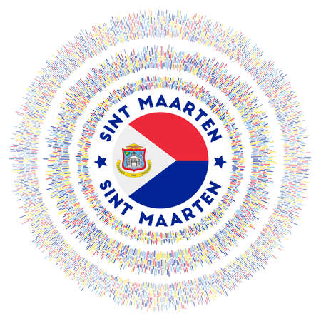 Sint Maarten symbol. Radiant country flag with colorful rays. Shiny sunburst with Sint Maarten flag. Appealing vector illustration. Foto de archivo - 138476383