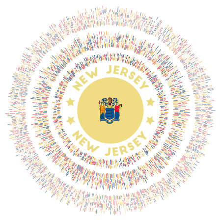 New Jersey symbol. Radiant us state flag with colorful rays. Shiny sunburst with New Jersey flag. Trendy vector illustration. Foto de archivo - 138476395