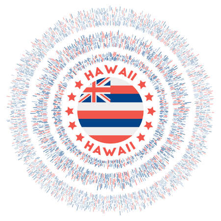 Hawaii symbol. Radiant us state flag with colorful rays. Shiny sunburst with Hawaii flag. Appealing vector illustration. Foto de archivo - 138476401