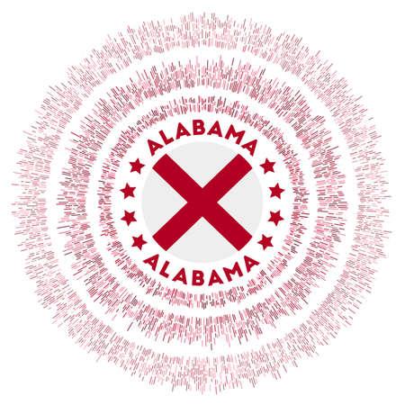 Alabama symbol. Radiant us state flag with colorful rays. Shiny sunburst with Alabama flag. Neat vector illustration. Foto de archivo - 138476405
