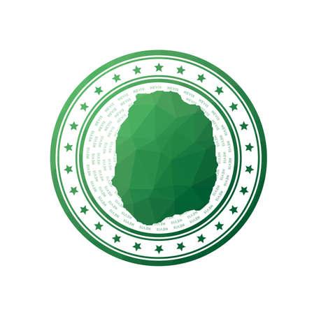 Flat low poly stamp of Nevis. Polygonal Nevis badge. Foto de archivo - 138477050