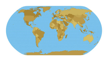 World Map. Natural Earth projection. Map of the world with meridians on blue background. Vector illustration.