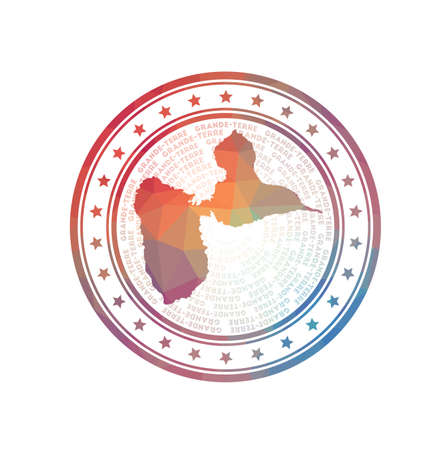 Flat low poly stamp of Grande-Terre. Polygonal Grande-Terre badge. Foto de archivo - 138477061