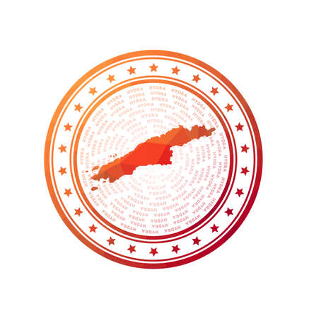 Flat low poly stamp of Hydra. Polygonal Hydra badge. Foto de archivo - 138477064