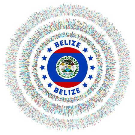 Belize symbol. Radiant country flag with colorful rays. Shiny sunburst with Belize flag. Authentic vector illustration. Foto de archivo - 138477066