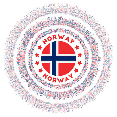 Norway symbol. Radiant country flag with colorful rays. Shiny sunburst with Norway flag. Attractive vector illustration. Archivio Fotografico - 138477069