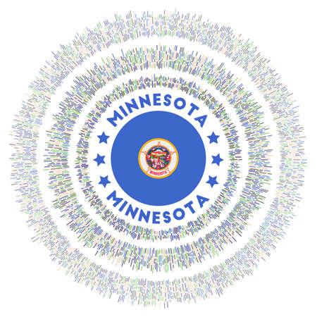 Minnesota symbol. Radiant us state flag with colorful rays. Shiny sunburst with Minnesota flag. Elegant vector illustration. Foto de archivo - 138477072