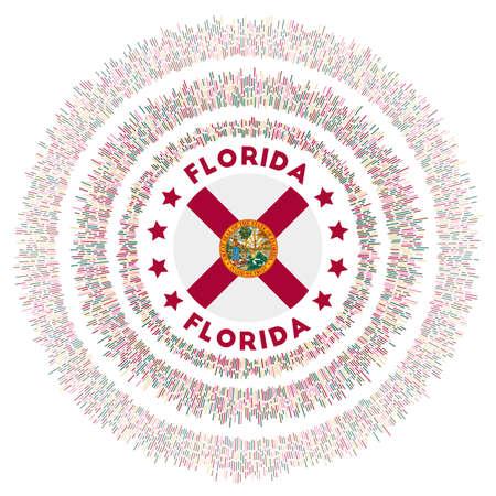 Florida symbol. Radiant us state flag with colorful rays. Shiny sunburst with Florida flag. Vibrant vector illustration. Foto de archivo - 138477075