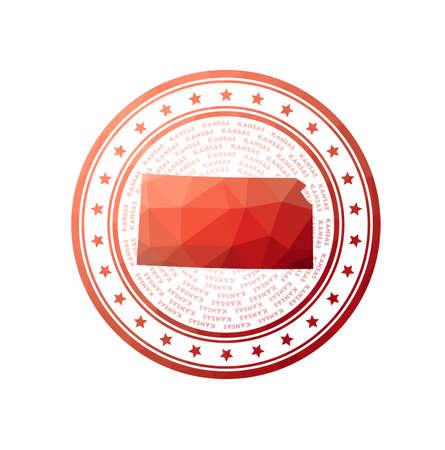 Flat low poly stamp of Kansas. Polygonal Kansas badge.