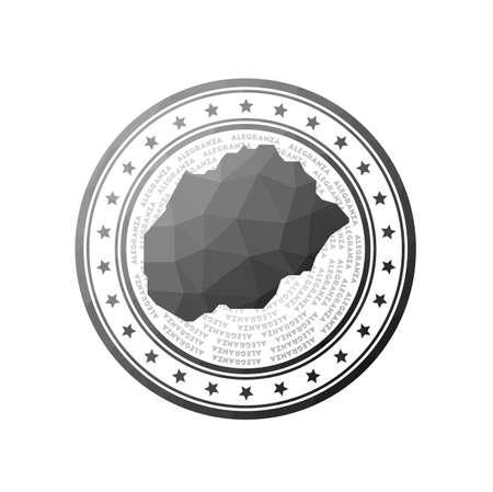 Flat low poly stamp of Alegranza. Polygonal Alegranza badge. Иллюстрация
