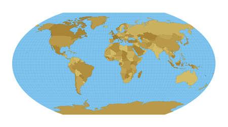 World Map. Wagner VI projection. Map of the world with meridians on blue background. Vector illustration. Vektoros illusztráció