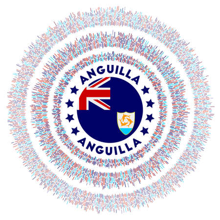 Anguilla symbol. Radiant country flag with colorful rays. Shiny sunburst with Anguilla flag. Astonishing vector illustration.