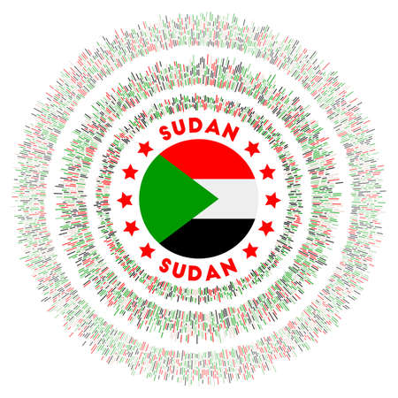 Sudan symbol. Radiant country flag with colorful rays. Shiny sunburst with Sudan flag. Authentic vector illustration.