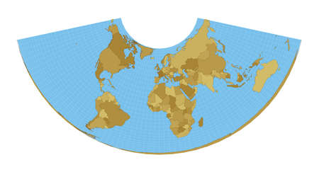 World Map. Albers conic equal-area projection. Map of the world with meridians on blue background. Vector illustration.