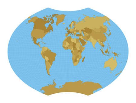 World Map. Ginzburg VI projection. Map of the world with meridians on blue background. Vector illustration.
